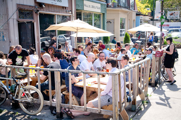 People sitting on patio having brunch