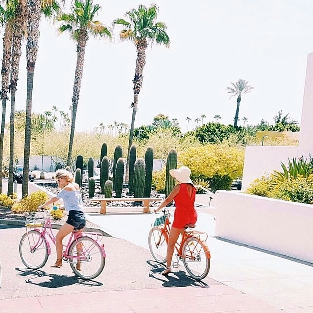 2 girls on bikes with palm trees and cactus
