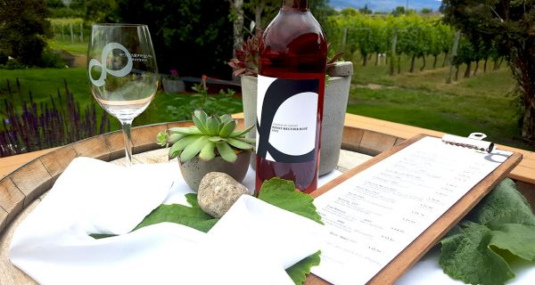 bottle of wine with a glass and menu next to a vineyard