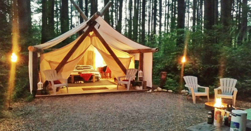 pampered wilderness glamping tent
