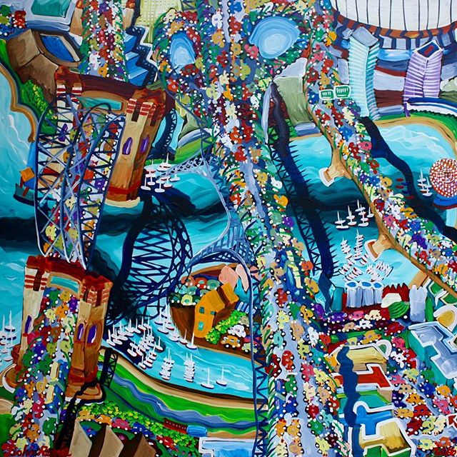 Painting of an urban city landscape by Vancouver artist John Ferrie