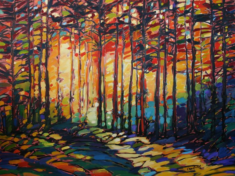 painting of trees in a forest by Canadian landscape artist Kelly Crawford