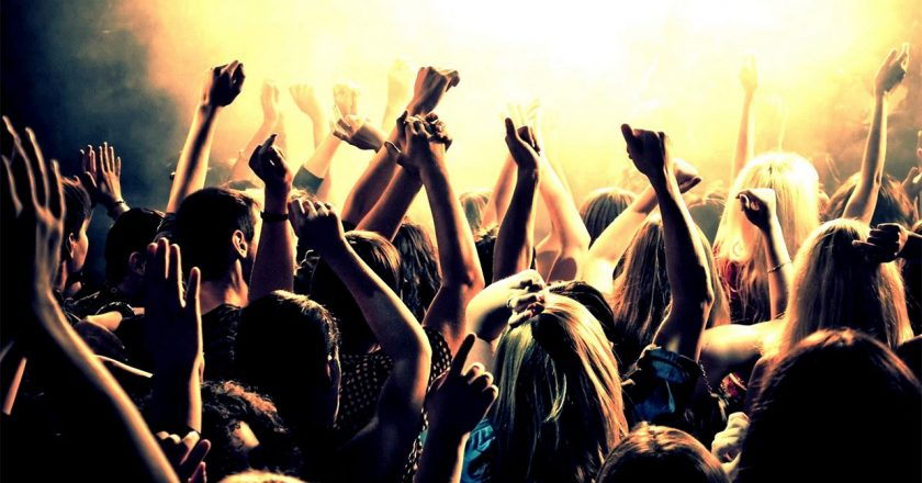 crowd at a concert partying