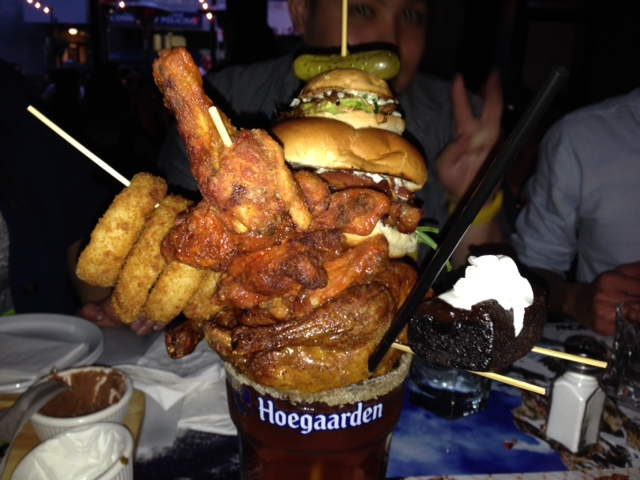 Massive Caesar with burger and chicken wings and brownie from the score on Davie
