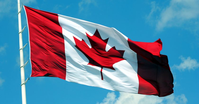 canada flag blowing in the wind