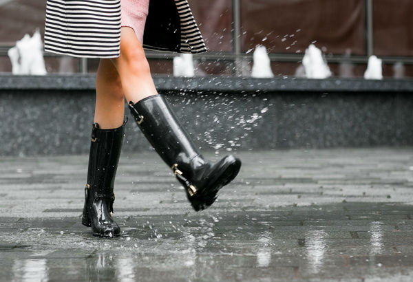 woman splashing in puddle with rain boots