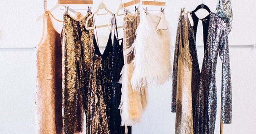 glittery dresses on a clothing rack