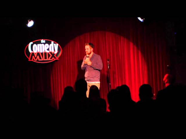 Comedian performing at the Comedy Mix