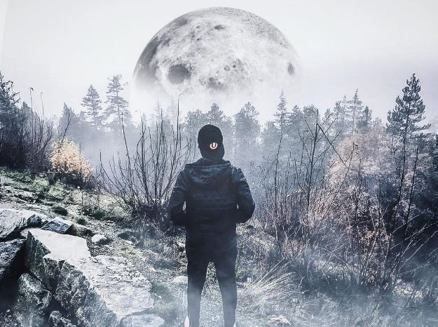 guy standing in a forest staring at the moon
