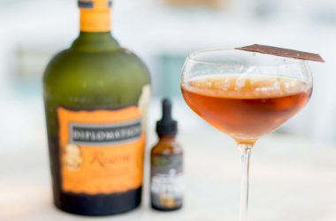 cocktail with chocolate and diplomatico