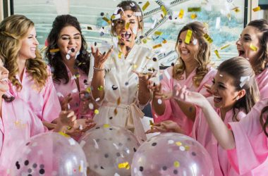 girls celebrating bridal party