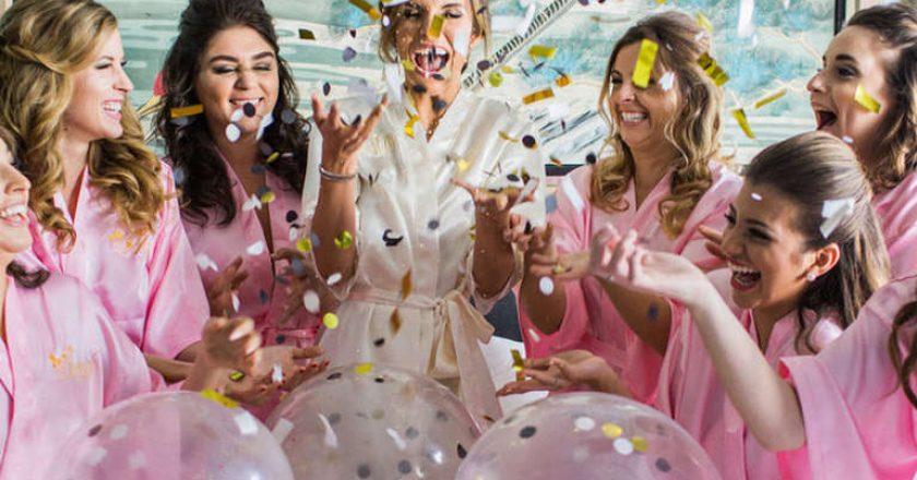 girls celebrating bridal party