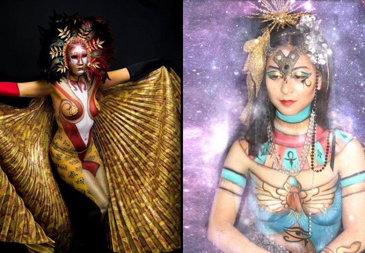 women in egyptian body painted