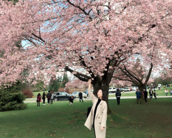 female posing under cherry blossom tree in Queen Elizabeth Park