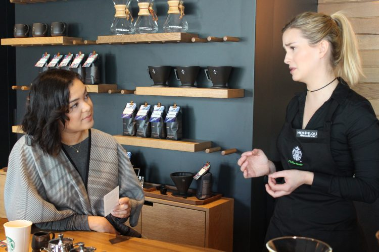 Starbucks staff member at experiential Reserve Coffee Bar in Mount Pleasant