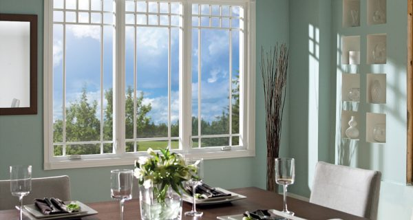 dining room table with white window pane feature