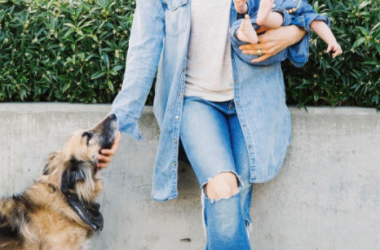 Food reporter, Erin Ireland with her dog and newborn.