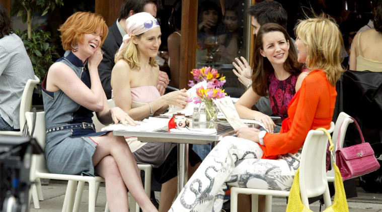 cast from sex and the city out for brunch