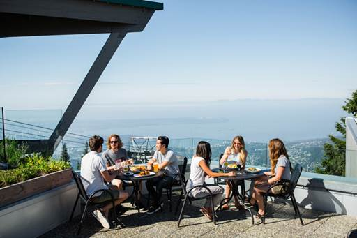 people drinking and eating on Altitudes Bistro patio on Grouse Mountain
