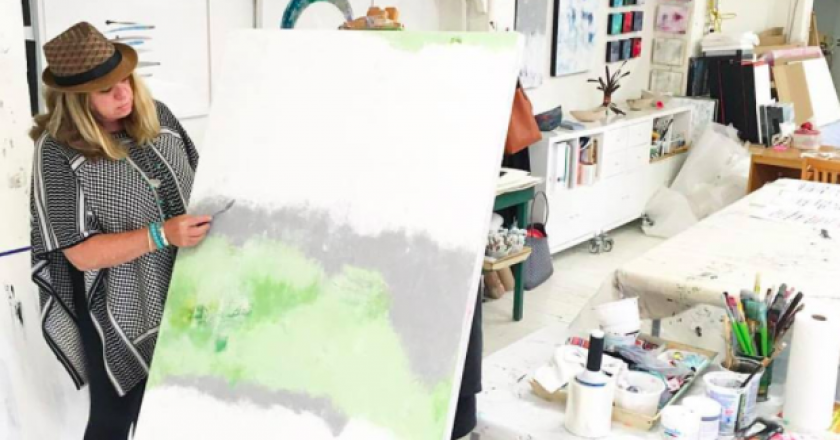 Miriam Aroeste painting in her Vancouver studio