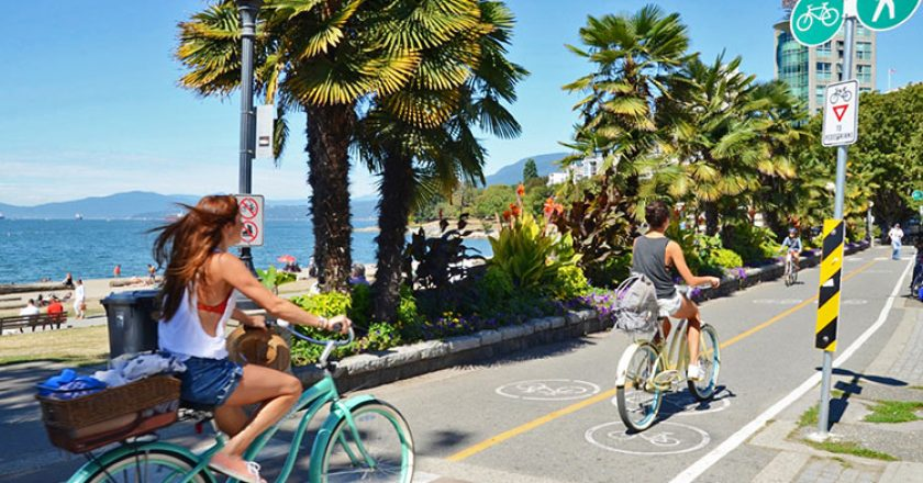 friends biking the seawall courtesy of West Coast Food