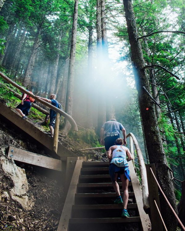 hikers climbing up the Grouse Grind