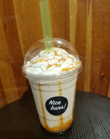 pumpkin spice frappe from Grounds Coffee in Vancouver