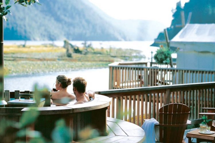 hot tub and view at Clayoquot Wilderness Resort