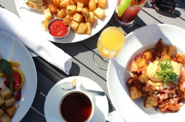 breakfast foods with coffee and mimosa