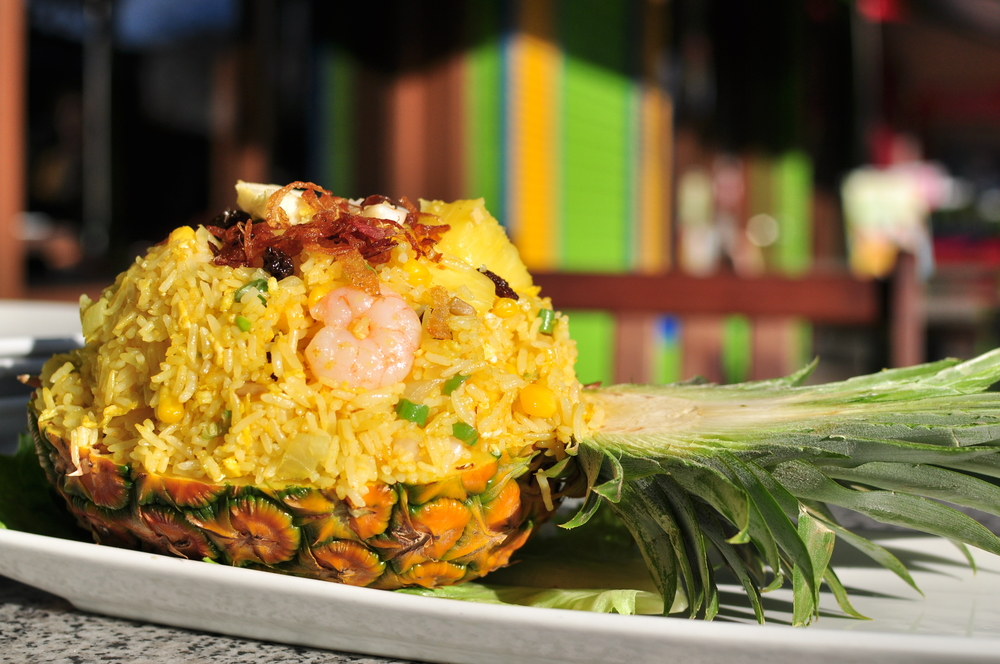 thai fried rice in a pineapple