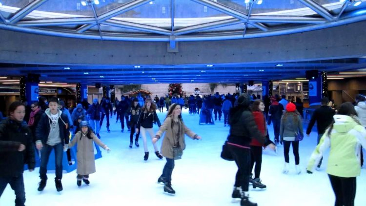 free ice skating at Robson Square on January 1st, 2018
