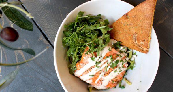 salmon zucchini pasta bowl festal cafe