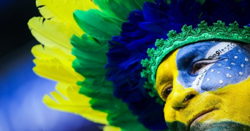 fifa world cup fan with a painted face